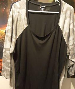 Grey Camo 3/4 sleeve shirt